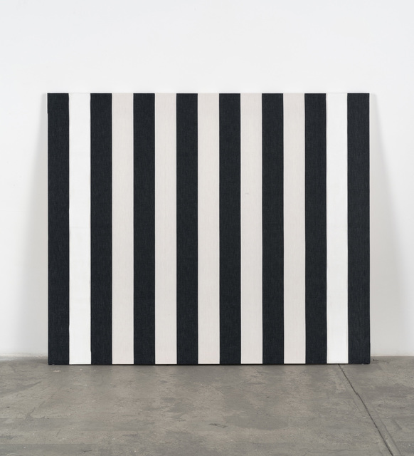 , 'Peinture acrylique sur tissu rayé de bandes blanches et noires,' 1973, Bortolami