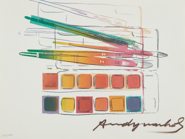 Andy Warhol, 'Watercolor Paint Kit', 1982, Print, Offset lithograph in colors, on Carnival Felt Cover paper, the full sheet, Phillips
