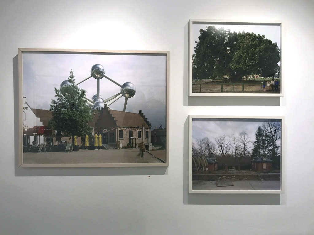 "Jade Doskow's exhibtion ""Lost Utopias"", showcasing old World's Fair Sites, installed in Front Room Gallery."