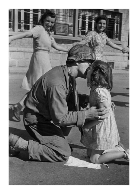 , 'Kiss of Liberation: : Sergeant Gene Costanzo kneels to kiss a little girl during spontaneous celebrations in the main square of the town of St. Briac, France, August 14, 1944 ,' , Monroe Gallery of Photography