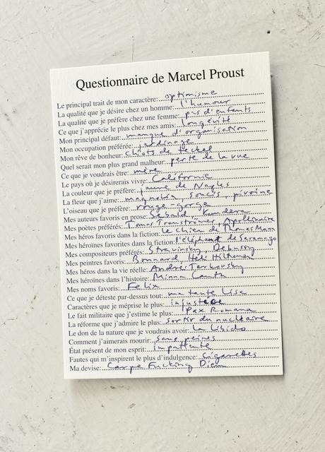 , 'Questionnaire de Marcel Proust,' 2016, Galleria Heino