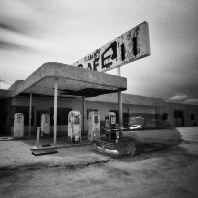 , 'Desert Center, CA- Gas Station, Disappearing Car- Pinhole,' , Modernist Frontier