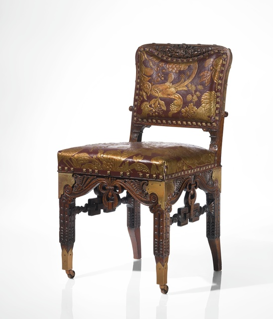 Herter Brothers, 'An Important Side Chair from the Dining Room of the William H. Vanderbilt House, New York', circa 1881-1882, Design/Decorative Art, Carved oak, brass and parcel-gilt and embossed leather upholstery, Sotheby's