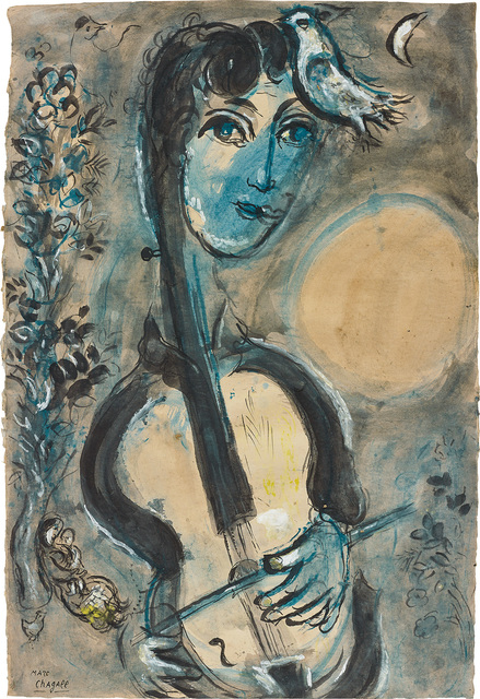 Marc Chagall, 'Le violoncelliste', 1964, Painting, Gouache, ink, ink wash and pastel on paper, Phillips