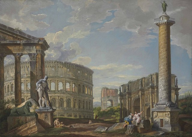 , 'A capriccio of classical ruins with the pronaos of the Porticus Octaviae, the Colosseum, the Arch of Drusus, the Arch of Constantine, the Column of Trajan and the Farnese Hercules,' , Christie's Old Masters