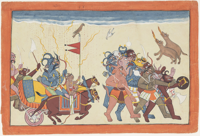 , 'The demon Dhumaksha leads his army,' ca. 1700, Princeton University Art Museum