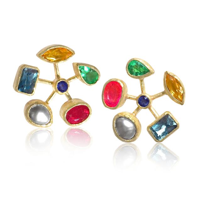 , 'Multi Gemstone Wheel Earrings,' 2017, Szor Collections