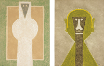Rufino Tamayo, 'Personaje Blanco (White Person); and Cabeza en Amarillo (Head in Yellow),' 1976, Phillips: Evening and Day Editions
