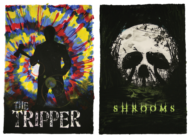 , 'The Tripper (2006) On 4.20, Hippie Blood Will Trickle Down / Shrooms (2007) Get Ready to Get Wasted,' 2010, Alex McQuilkin + Andy Mister