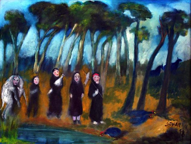 Tasaduq Sohail, 'People in black robes carrying sacrificial animals', 1998, The Noble Sage Collection