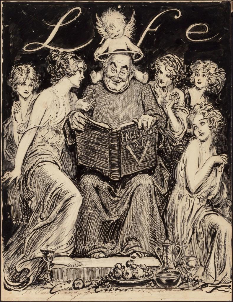 Charles Dana Gibson, U0027Engagements, Saint Valentine, LIFE Magazine  Illustrationu0027, 1920