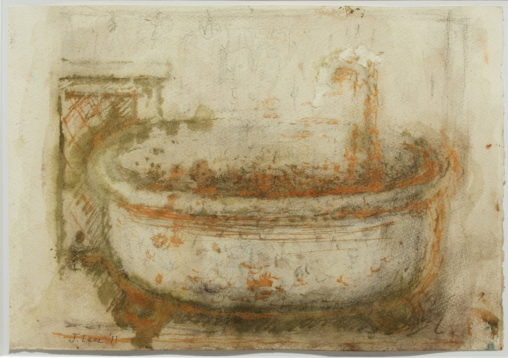 Untitled (Bathtub), 2010-11, pencil, watercolor & ink on paper, 7 x 14 inches