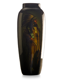 "Large Standard Glaze vase with American Indian portrait (uncrazed), ""Big Horn Bear,"" Cincinnati, OH"