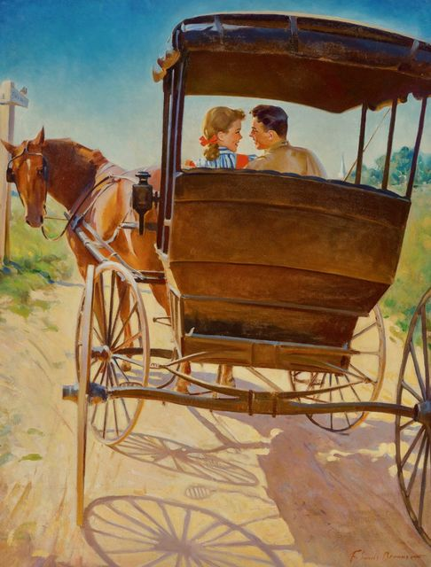 Frederick Sands Brunner, 'The Carriage Ride', 20th Century, Painting, Oil on Canvas, The Illustrated Gallery
