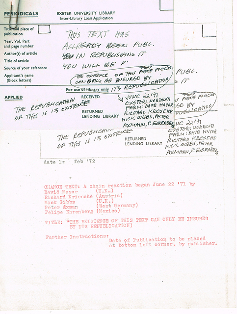 , 'Chain Reaction: Republished text,' 1972, Baró Galeria