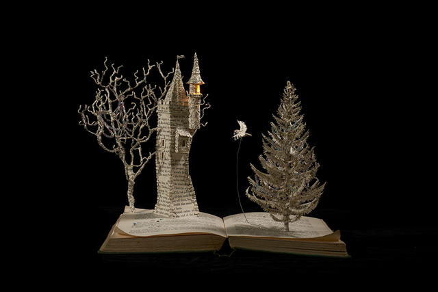 Su Blackwell, 'The Bluebird', 2018, Sculpture, Book cut sculpture in arched box, with lights, Long & Ryle