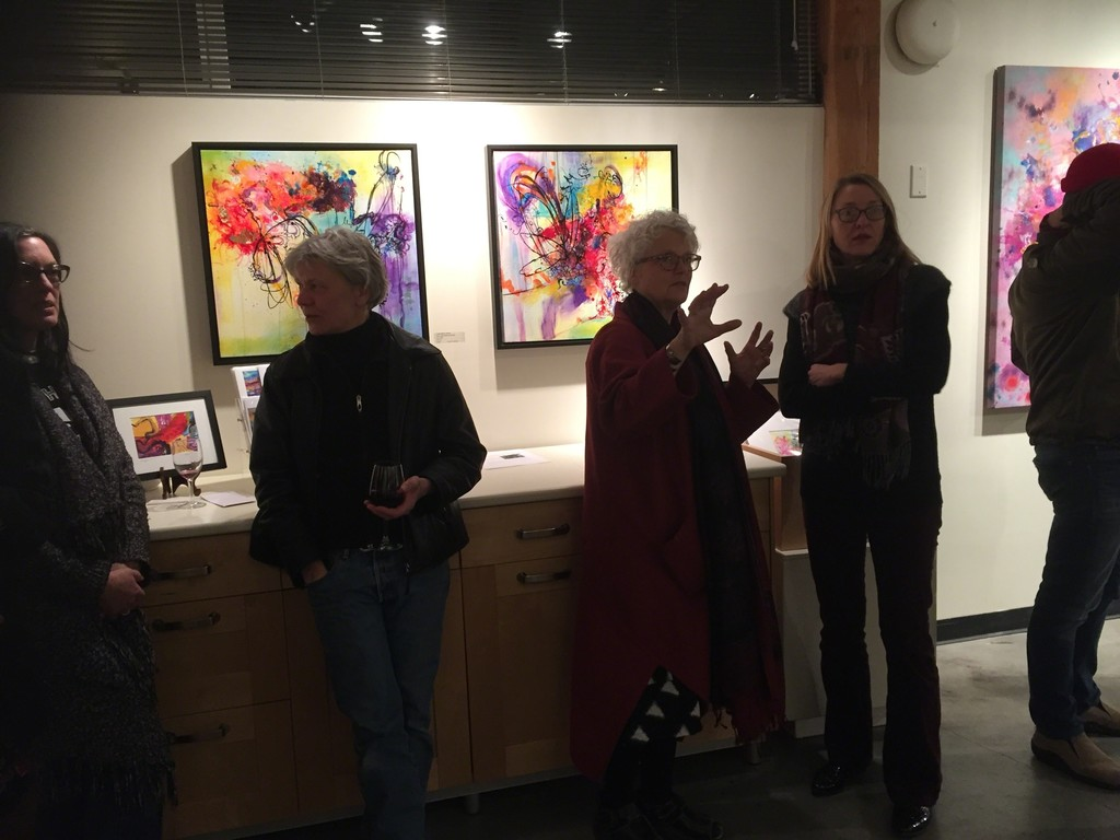 lively conversation - opening night at Love Poems to the Soul