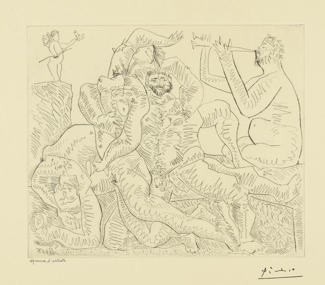 Pablo Picasso, 'Bacchanale, avec Éros en haut à gauche (B. 776; Ba. 951)', 1955, Print, Etching and drypoint, Sotheby's