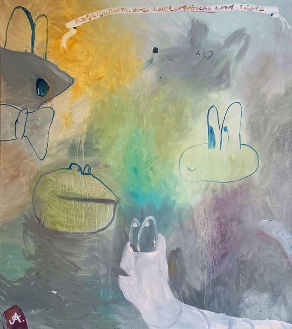 , 'Regenwurm, drei Wetterfrösche und Wolf,' 2016, GOLESTANI