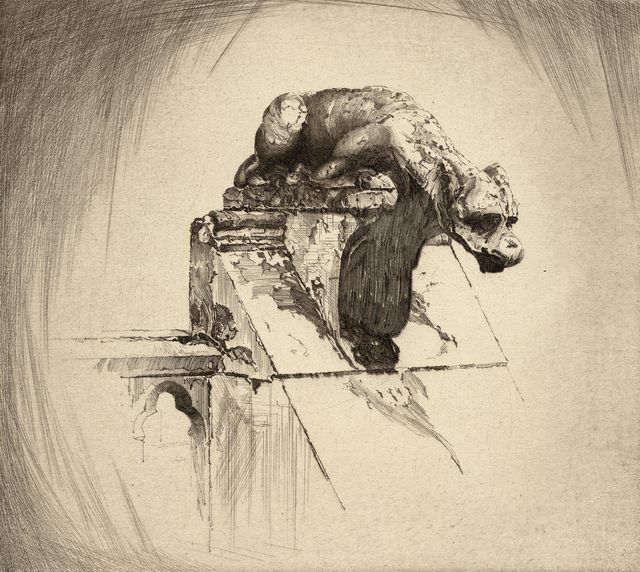 , 'Through Wind and Weather (Gargoyle / Notre Dame Cathedral in Paris),' 1922, Stone + Press Gallery