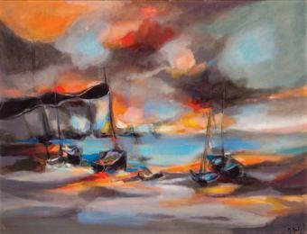 Barques et Falaises au Soleil Couchant