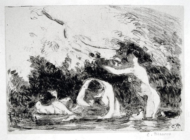 Camille Pissarro, 'Women Bathing in the Shade of Wooded Banks', 1894, Harris Schrank Fine Prints