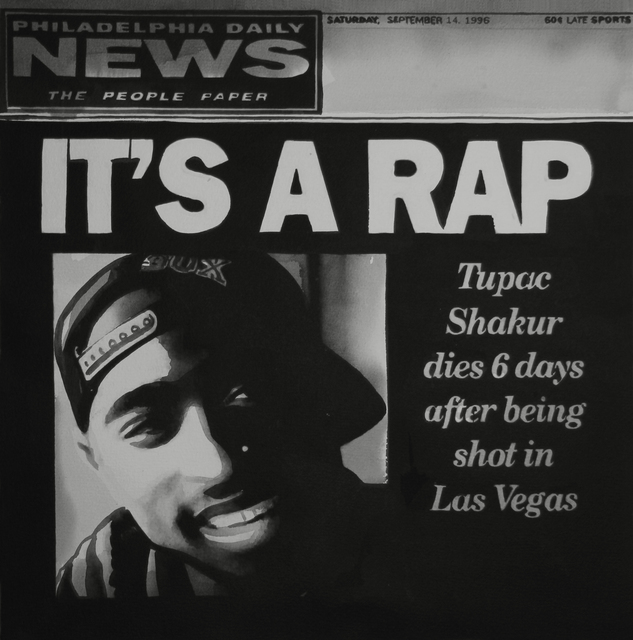 , 'IT'S A RAP, Tupac Shakur dies 6 days after beeing shot in Las Vegas, The cover of the Philadelphia Daily News, September 14, 1996,' 2017, Christine König Galerie
