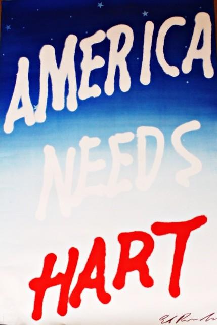 Ed Ruscha, 'America Needs Hart (Signed) ', 1983, Alpha 137 Gallery Auction