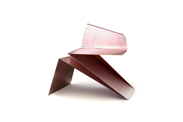Philip Michael Wolfson, 'Rose Gold Origami Chair', 2007, Sculpture, Steel finished with 24-karat gold rose leaf