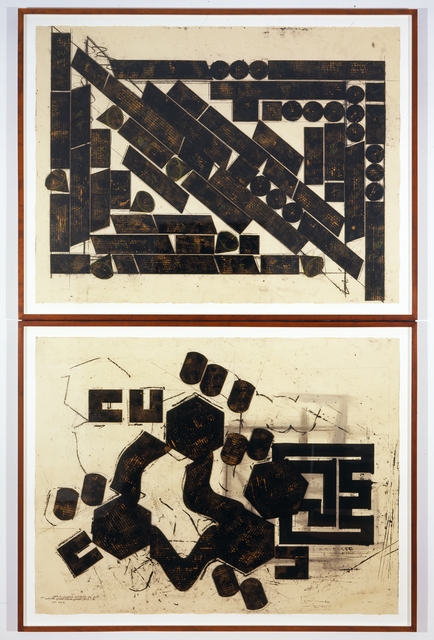 """, 'Study for Sculpture Occupying 2 Areas. """"CPE/Reading Beckett; Reading Bernhard"""" #1,' 1991, David Nolan Gallery"""