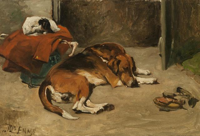 John Emms, 'Sleeping Hound & Terrier', 19th Century, Cross Gate Gallery