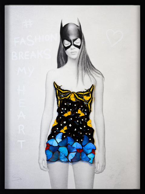 SN, 'SUPERHERO-YELLOW', 2018, Painting, Oil and acrylic painting with mounted butterflies on fine art paper., Eden Fine Art
