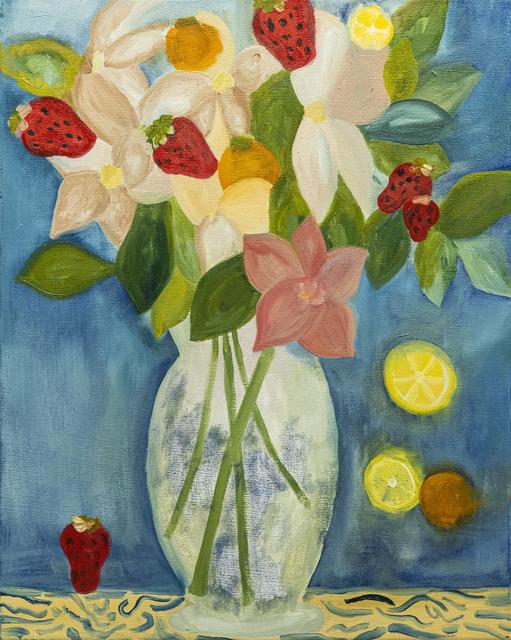 Paola Vega, 'Flores con frutillas', 2020, Painting, Oil on canvas, Calvaresi