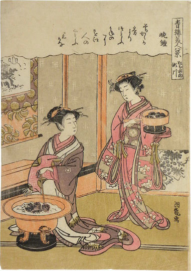 Isoda Koryusai, 'Eight Views of Beauties of the Green Houses: Segawa of the Matsubaya House, Evening Bell', ca. 1776, Scholten Japanese Art