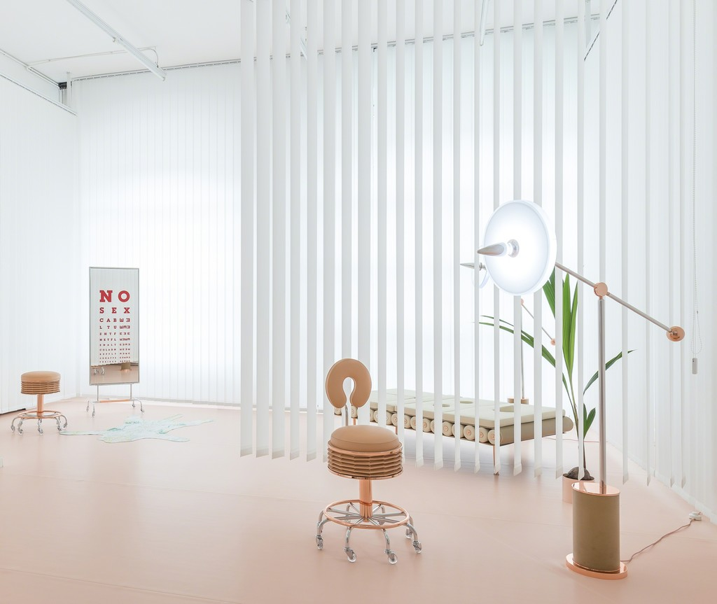 "NO SEX by Atelier Biagetti, 2016. ""Soffietta"" stool, ""Deja vu"" standing mirror, ""Soffietta"" chair, ""Massage"" day bed, ""Cocorito"" floor lamp."