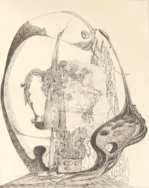 Salvador Dalí, 'Study for Portrait of the Viscountess Marie-Laure de Noailles', ca. 1931, Drawing, Collage or other Work on Paper, Pen, ink and graphite on paper, Omer Tiroche Gallery