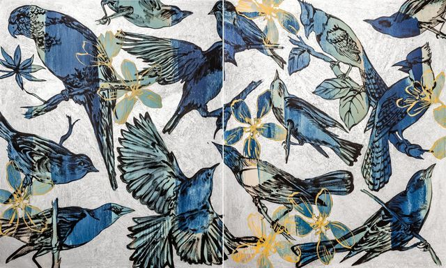 , 'Birds Blue on Silver,' 2014, Gallery One Australia