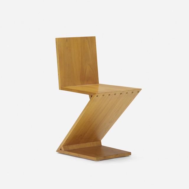Gerrit Thomas Rietveld, 'Zig-Zag chair', 1932, Design/Decorative Art, Elm, brass, Rago/Wright