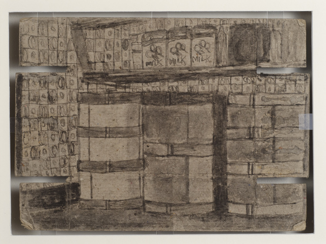 , 'Untitled (Interior with phonograph/barrels with checkered wall paper),' n.d., Fleisher/Ollman