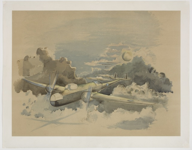 , 'Moonlight voyage, Hampden flying above the Clouds,' 1940, Piano Nobile