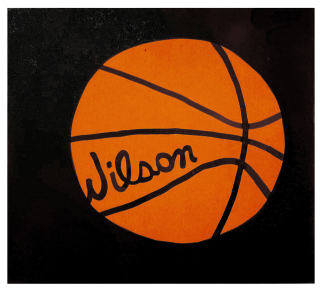Jonas Wood, 'Wilson Basket Ball', 2008, Painting, Acrylic and ink on paper, Oliver Clatworthy