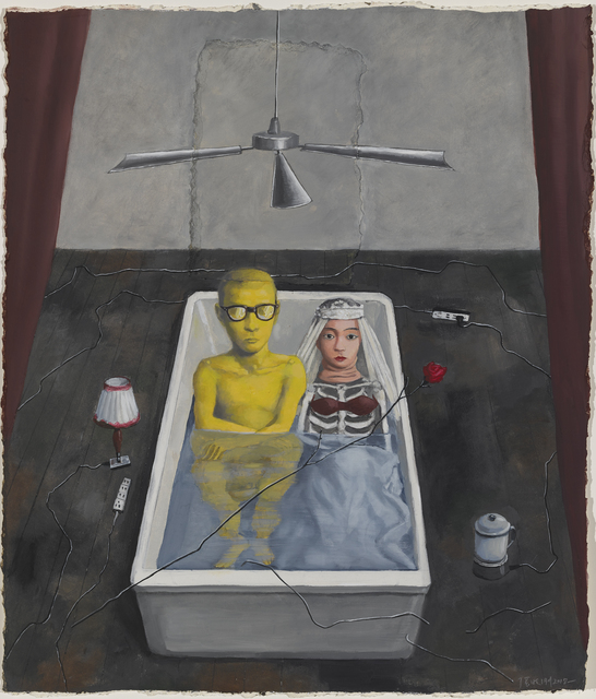 Zhang Xiaogang, 'Small Bathtub', 2018, Drawing, Collage or other Work on Paper, Oil on paper with collage, Pace Gallery