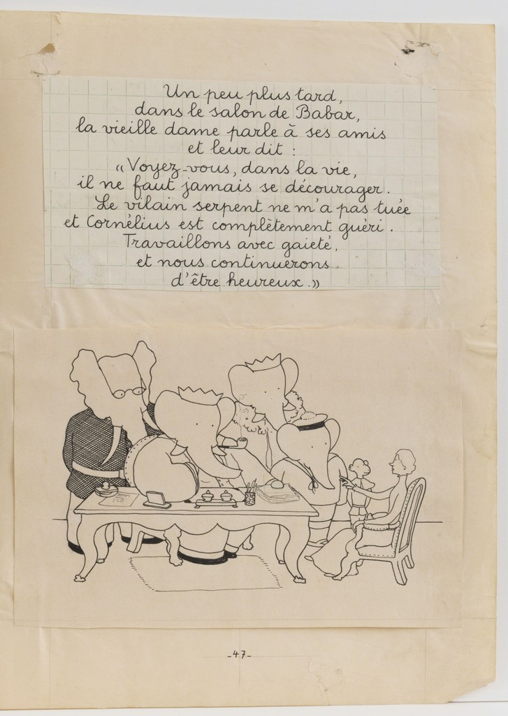 "Jean de Brunhoff, '""In Babar's living room...,"" illustration for Babar and His Children,' 1936, Mary Ryan Gallery, Inc"