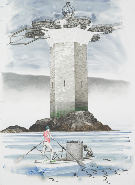 , 'Untitled (Onomatopoeia harbour gate, West tower, with Oarsman in foreground),' 2018, Ingleby Gallery