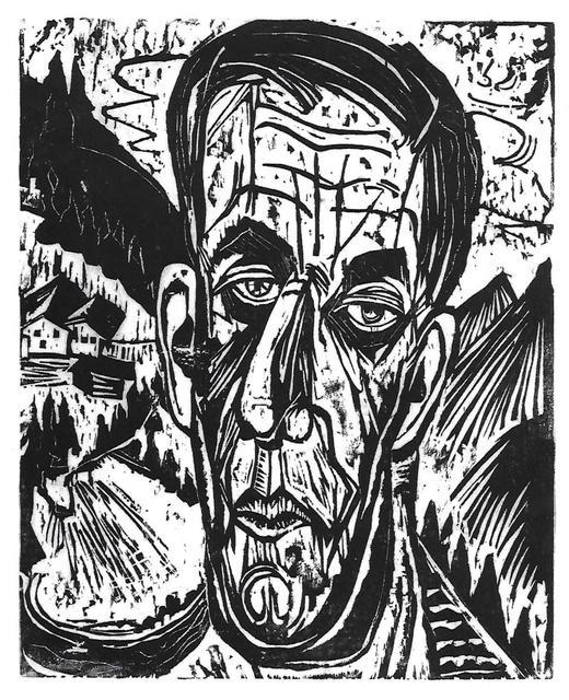 Ernst Ludwig Kirchner, 'Kopf Henry Van de Velde, Hell. - Van de Felde zwischen Bergen (Portrait of Henry Van de Felde between Mountains)', 1917, Alice Adam Ltd.