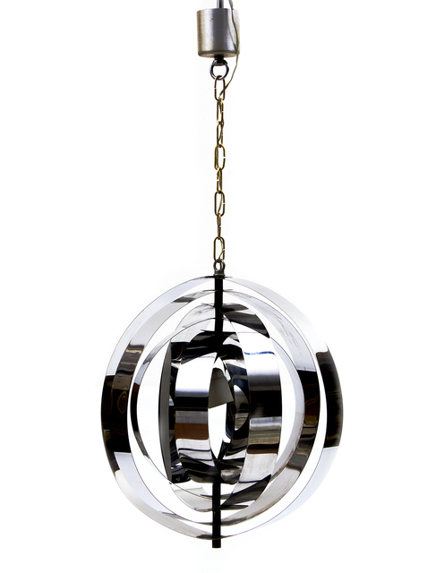 "Verner Panton, '""Moon"" suspension lamp', 1960, Design/Decorative Art, Armillary sphere structure made of concentric rings in chromed metal, Bertolami Fine Arts"