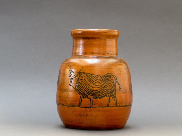 , 'Burnt-Orange Vase with Animal Motifs,' 1950-1959, Bureau of Interior Affairs