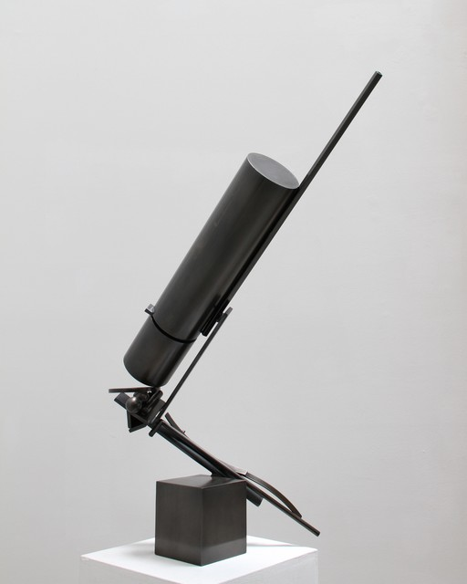 Fletcher Benton, 'Broken Cylinder with Cube', 2011, Sculpture, Steel with patina, Tasende Gallery