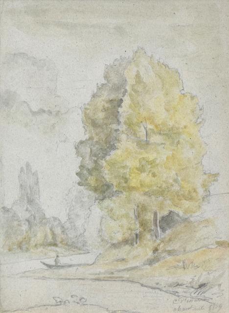 , 'Arbres au bord d'une rivière,' 1859, Stern Pissarro