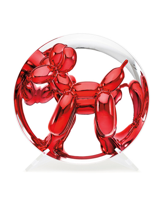 Jeff Koons, 'Balloon Dog (Red)', 1995, Sculpture, Porcelain multiple painted in chrome, contained in the original foam-lined cardboard box with printed artist's name and original plastic stand., Phillips